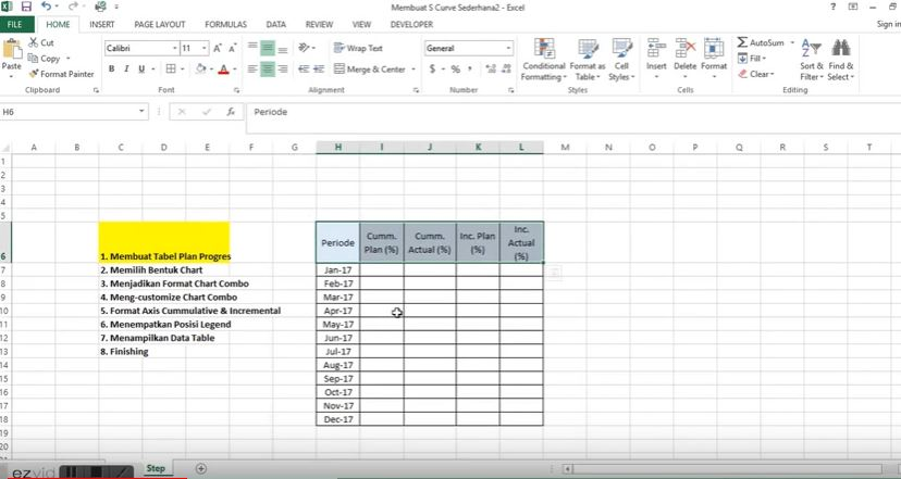 Step 1 Create Plan Progres Table