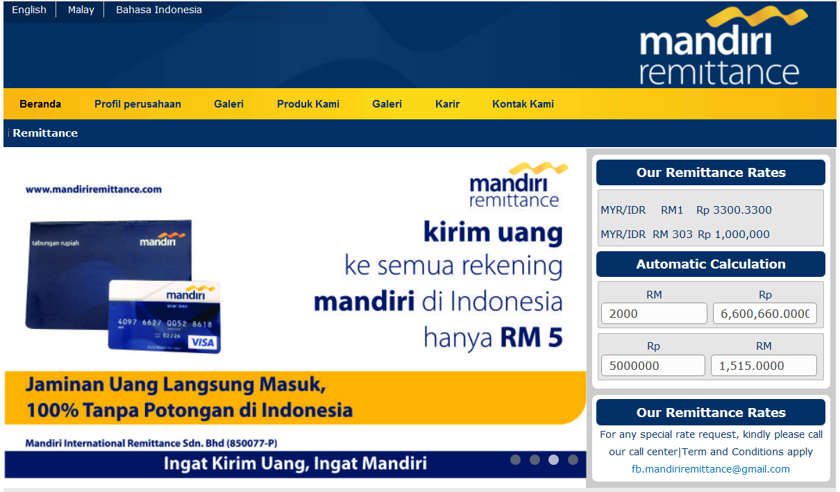 Kirim Uang Via Mandiri Remittance Di Malaysia Natanagara